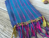 Peacock in the Grass Cast Handwoven Scarf