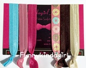 Donut Hair Tie Set Fall Elastic Wristband 6 Piece Brown Taupe Rose Mauve Pink Turquoise Aqua Knotted Bracelets