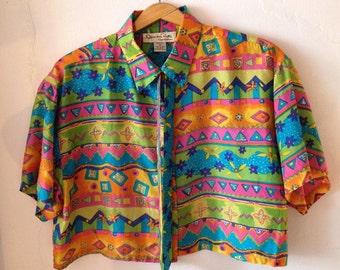 silk Oscar de la Renta crop top upcycled tunic vintage blouse