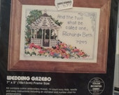 Wedding counted cross stitch kit gazebo names date small kit Quiltsy Destash Party