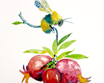 """Bumblebee and Pomegranate Watercolor Painting, Original Art, 11""""x15"""""""