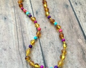 Youth Polished/Unpolished Mix Baltic Amber and Pink/Purple/Turquoise Gemstone bead Necklace