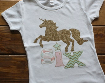 Girl Birthday Shirt, Unicorn Birthday Shirt, Birthday Shirt for Girls, Horse Birthday, Mint, Pink, Gold Birthday, Glitter, Silver and Purple