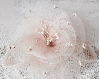 Vintage 1950s Dusty Pink Mini Bridal Couture with Hair Comb - Pearls - Netting - Wedding