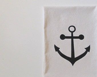 Cotton Kitchen Towel - Anchor design - Choose your ink color