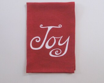 Linen Tea Towel - Joy - Holiday Tea Towel - Choose your fabric and ink color