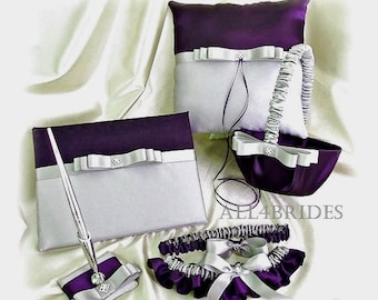 Deep purple and gray weddings , ring pillow, basket, guest book and bridal leg garters, bridal and wedding accessories