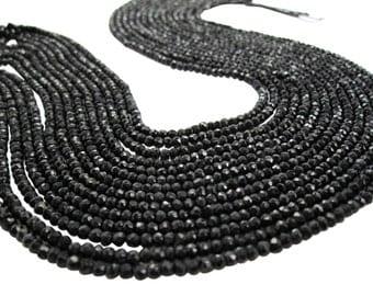 Black Spinel Beads, Black Spinel Rondelles, Faceted Rondelles, SKU 3653