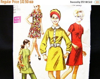 SALE 25% Off Womens A line Dress or Tunic Top with High Waisted Pants 1960s Dress Pattern Misses size 12 Vintage Patterns