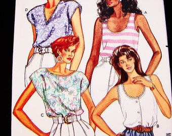 Womens Sleeveless Top Pattern Tank Top, Blouse Pattern Misses size 6 8 10 12 UNCUT Easy to Sew Pattern