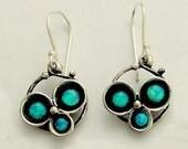 Three blue opal earrings, gemstone earrings, simple earrings, casual sterling silver earrings, oxidized earrings - Into the Night E2051