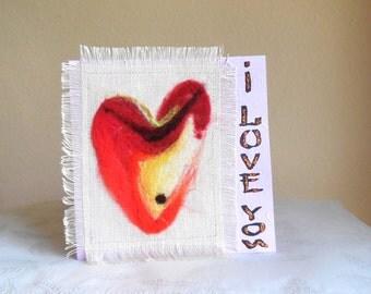 "Greeting Card ""I Love You""...Love Card..Fiber Art Greeting Card..Hand Made Card..Heart Design Greeting Card.."