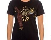 Cheshire Cat Womens Plus Size t-shirt, Wonderland, black plus size top, Glow in the Dark