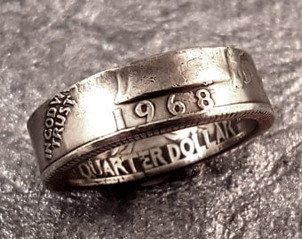 1968 Coin Ring YOUR SIZE 5 to 10.5 Year Quarter MR0705-Tyr1968