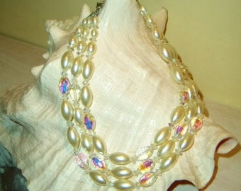 Necklace Multi-Strand Crystal Pearl Beads Vintage Bride Wedding