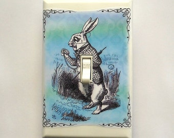 Selection of White Rabbit Switchplates & MATCHING SCREWS- Alice in Wonderland art prints Wonderland bedroom decoration Alice art decoration
