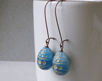 Long blue egg earrings, sky blue gold, Easter eggs, Easter jewelry, antique copper and large Czech glass beads, copper earrings, fashion