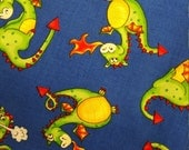 "Cotton Fabric DRAGONS on BLUE magical bright colors fire breathing cute friendly 8"" x 44"" cotton Fun Fabric for Creative Genius Projects"
