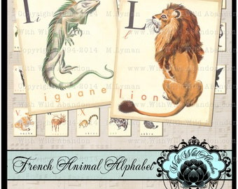 Vintage Alphabet. French Animal Letters, Printable Animal Alphabet, Letter Digital Collage, Nursery Print,  abc, ACEO,Printable PDF 8 x 10