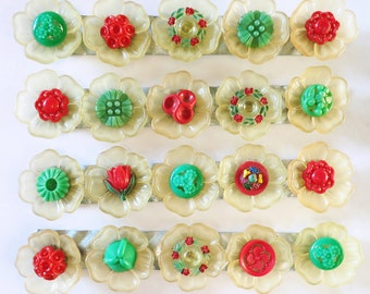 Set of 5 Yellow Flower Button Magnets with Red and Green Vintage Carved Button Centers, Handmade