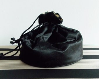 vintage 1930s black and white striped satin drawstring purse/ WWII swing purse/ 30s evening pouch bag