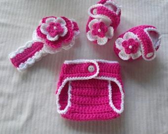 Baby Girl Infant Girl Crochet Headband Booties Adjustable Diaper Cover Baby Shower Gift Photo Prop Reborn Baby 10019 MADE TO ORDER