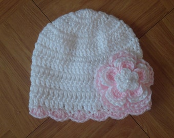 READY TO SHIP Baby Girl Crochet Hat,beanie,photo prop,baby shower gift, handmade 10001