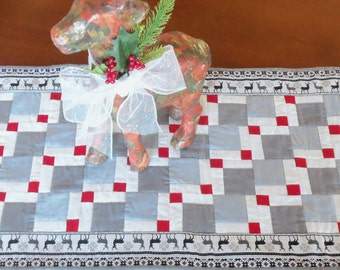 Gray  Winter Deer and Snowflake Quilted Table runner