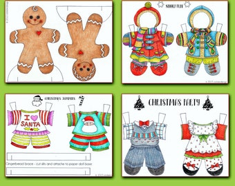 Gingerbread Boy and Girl Paper Doll - Coloring Page - PDF - Instant Download
