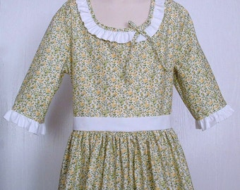 Girls Colonial Market Day Dress  Civil War Costume  Pioneer Size 12/14  -    -    Ready to Ship