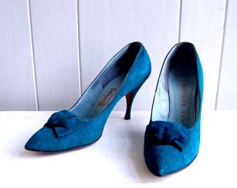 1950s Herbert Levine Designer Teal Suede Heels // Size 8 Narrow