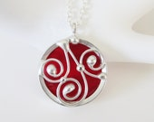 Stained Glass Pendant Necklace Iridescent Red Stained Glass Jewelry