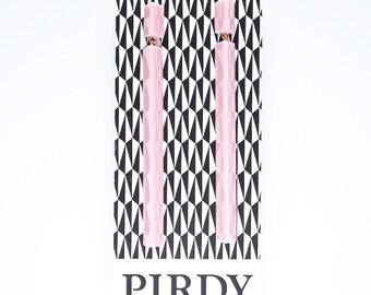 Handmade large long chandelier drop facet geometric statement dangle resin earrings in pale pastel pink.