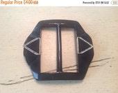 GBYE SUMMER SALE Vintage Plastic Belt Buckle for Dress Black Art Deco Rhinestones Nos Deadstock