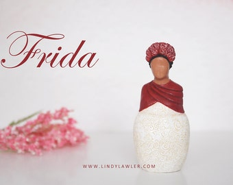 Frida Kahlo inspired figurine - Goddess Fertility Midwife Doula Gift Mother Earth Sandplay Sculpture Statue