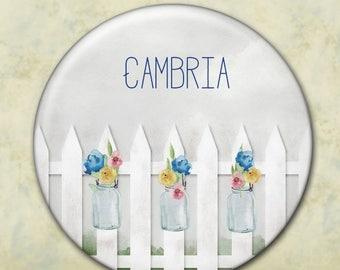 Personalized Bridesmaid Gift, Shower Favor, Pocket Mirror, Mason Jar, Rustic Wedding, Watercolor Flowers, Picket Fence