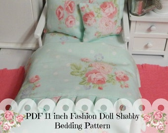 Sewing Pattern PDF 11 inch Fashion Doll Blythe or Barbie Doll Bedding Set PDF pattern