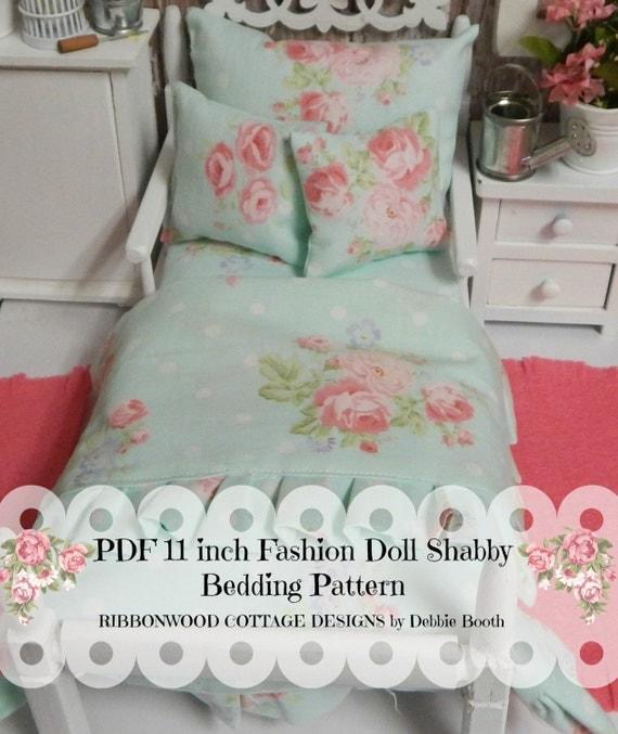 Sewing Pattern PDF 11 inch Fashion Doll Blythe or Barbie Doll Bedding Set PDF pattern