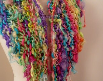rainbow Scarf  Hand Spun Hand Knit  Art Yarn soft merino kid mohair and suri alpaca