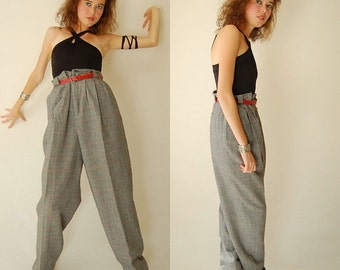 sale 25% every sunday Wool Plaid Trousers Vintage Houndstooth Plaid Wool Slouchy Menswear Prep School Trouser Pants (l xl)