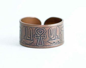 ankh ring, Egyptian ring, adjustable ring, copper ankh ring, key of life ring, ankh jewelry, Egyptian ankh, hieroglyphic ring, goth ring