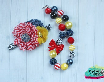 chunky necklace or baby headband set { Toy Story } red yellow blue cow print necklace Birthday necklace cake smash photography prop