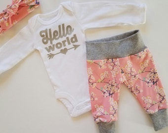 Baby Girl Coming Home Outfit. Newborn Girl Coming Home Outfit. Girl Coming Home Outfit. Coming Home Outfit Girl. Sip and See. Pink Floral.