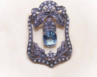 Vintage Pin, STERLING SILVER, Sterling Pin, Silver Pin, Blue Topaz, Topaz Pin, Pearl Pin, Marcasite Pin, Edwardian Revival, Old World Look