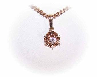 Vintage Pendant, Diamond Pendant, 14K Gold, 14K Gold Pendant, Gold & Diamond Pendant, .15CT Diamond, Buttercup Setting, Yellow Gold Pendant