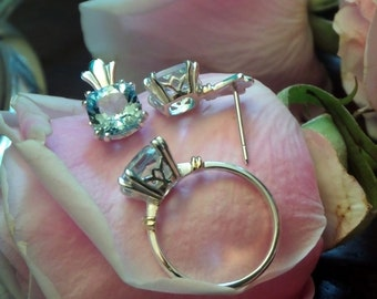 Sylvie, Aquamarine Ring and Earrings, Sterling and 18k Yellow Gold Settings with A+++ Natural Aquamarine, Ready to Ship