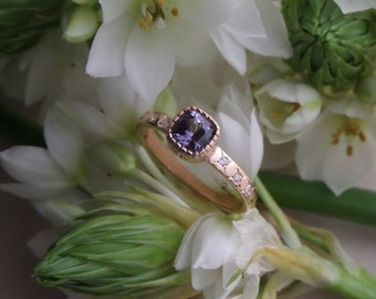 "Purple Spinel Ring, ""Etoile"" Engagement or Right Hand Ring in 18k Rose Gold, OOAK E Ring, Ready to Ship"