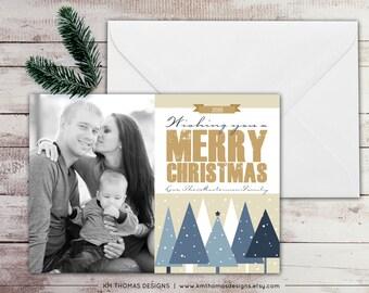 Printable Christmas Photo Card - Holiday Photo Card - Winter Trees - Snowfall - Christmas Trees - Blue Tan - Winter Holiday Card - WH116