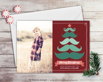 Christmas Tree Photo Card - Photo Holiday Card - Mustache Tree - Mustache Holiday Card - Christmas Photo Card - Red and Green - WH158
