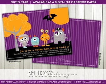 Halloween Monster Birthday Invitation : Personalized Printable Monster Party Invitation - Monster Bash Theme - BD193